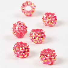 Strassilinkit, koko 9x13 mm, aukon koko 5 mm, 6 kpl, pinkki