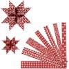 Stjärnstrimlor, röd, vit, L: 44+78 cm, dia. 6,5+11,5 cm, B: 15+25 mm, 60 strimlor/ 1 förp.