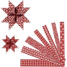Stjernestrimler, B: 15+25 mm, dia. 6,5+11,5 cm, hvit, rød, klassisk, 60strimler, L: 44+78 cm