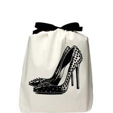 Bag-all Spikey Pump Shoe Bag Kenkä Laukku 100% Puuvilla 32,5x31,5x6 cm Musta/Valkoinen