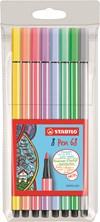 Ritpennor Fiberpenna STABILO Pen 68, 8/fp pastell