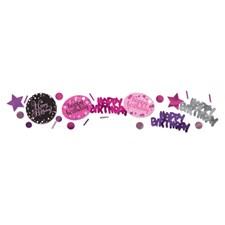 Happy Birthday, rosa dekorationskonfetti