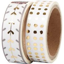Maskeringstape, B: 15 mm, hvit, gull, hjerter og prikker - foil, 2x4m
