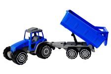Traktor (blå) med tilhenger, Plasto