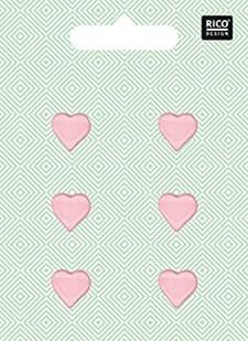 Knappar Hjärta 1,5 cm Rosa 6 st