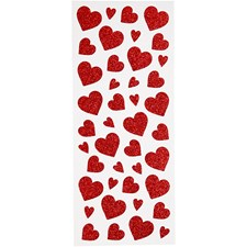 Glitterstickers Hjärtan, 10x24 cm, 2 ark, röd