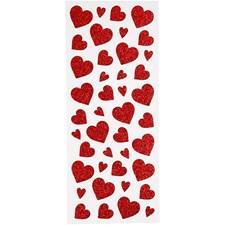 Glitterstickers, ark 10x24 cm, ca. 84 stk., rød, hjerter, 2ark