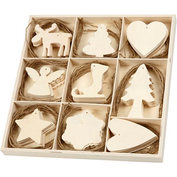 Upphängen med Snöre 7-8 cm Plywood Mix 72 st (plywood)