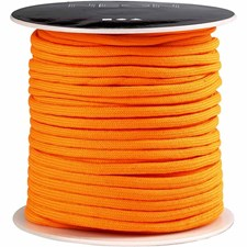 Imitert fallskjermsnor, tykkelse 4 mm, 5 m, neon orange