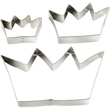Metallimuotit, suurin koko 13,3x7,5 cm, kruunut, 3kpl