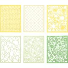 Pitsikartongit, A6 104x146 mm,  200 g, vihreä, vaaleanvihreä, keltainen, vaaleankeltainen, 24kpl