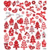 Stickers, ark 15x16,5 cm, ca. 54 stk., rød/hvit jul, 1ark