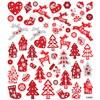 Stickers, ark 15x16,5 cm, ca. 54 stk., , rød/hvit jul, 1ark