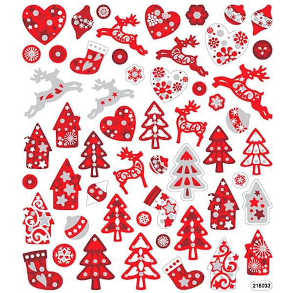 Klistermärken Glitter Röd/Vit Jul 1 Ark