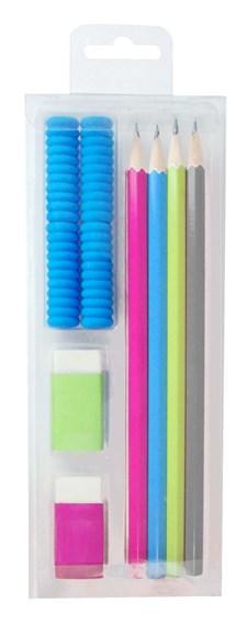 Skrivesett med 4 blyanter, 2 viskelær og 4 blyantgrep