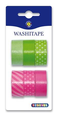 Washitape 6-pack, grön & rosa