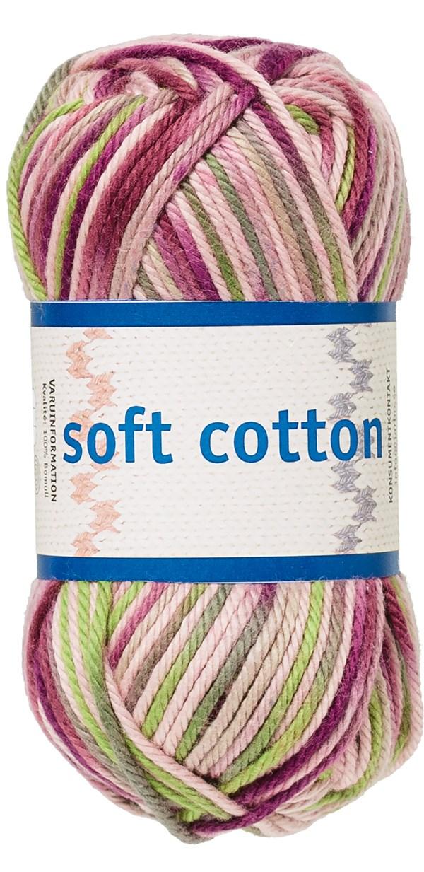 Soft Cotton Bomullsgarn 50g Lila/Rosa/Beige Print (8878)