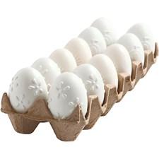 Ägg, H: 6 cm, 12 st., vit