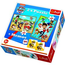 "Paw Patrol ""To the rescue"", Pussel 2-i-1 + Memory, Trefl"