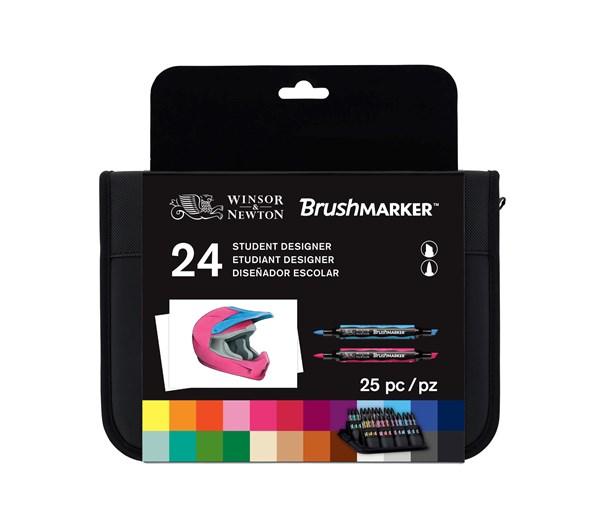"""BrushMarker Set med 24 st Markers """"Student Designer"""" i en Praktisk Väska"""