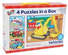 4 palapeliä laatikossa, ajoneuvot,  Galt
