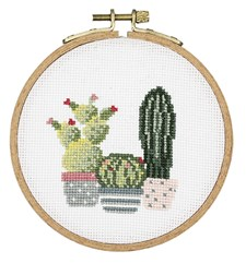 Broderi Kaktusar i rund sybåge set ø 10,5 cm