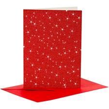 Kort och kuvert, kortstl. 10,5x15 cm, kuvertstl. 11,5x16,5 cm, röd, glitter, 4set