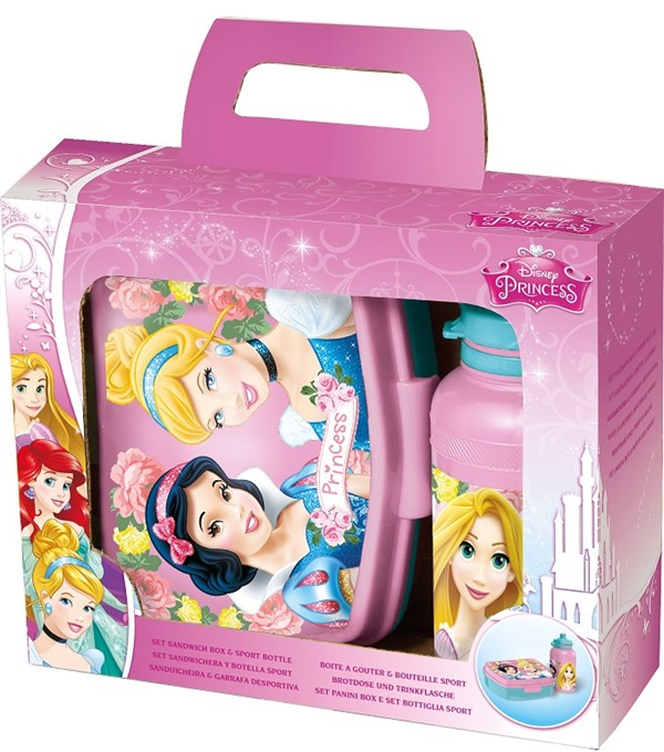 Matlåda och sportflaska i presentförpackning, Disney Princess