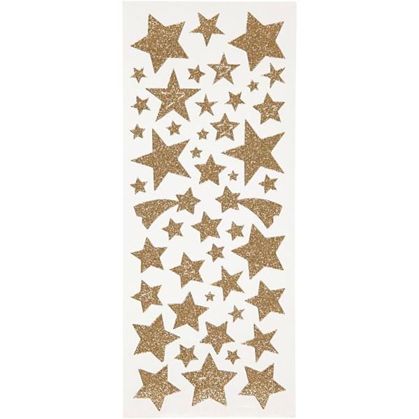 Glitterstickers, ark 10x24 cm, ca. 110 stk., gull, stjerner, 2ark