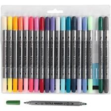 Textiltusch, spets: 2,3+3,6 mm, kompletterande färger, 20st.