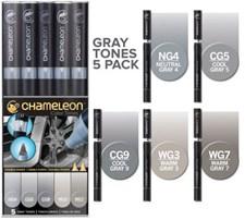 Chameleon 5-pack Pen Marker Gray Tones