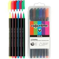Colortime Fineliner Tusj, strektykkelse: 0,6-0,7 mm, ass. farger, 12stk.