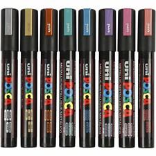 Uni Posca Tusj, strektykkelse: 2,5 mm,  PC-5M , metallic farger, medium, 8stk.