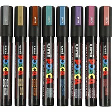 Uni Posca Marker , spets: 2,5 mm,  PC-5M , metallicfärger, Medium, 8st.