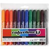 Colortime Tusj, strektykkelse: 5 mm, suppl. farger, 12stk.