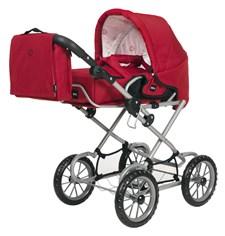 Brio Combi -nukenvaunut ja hoitolaukku, punainen