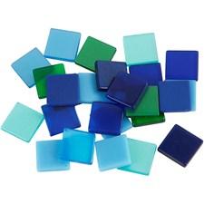 Minimosaikk, str. 10x10 mm, 25 g, blå/grønn harmoni