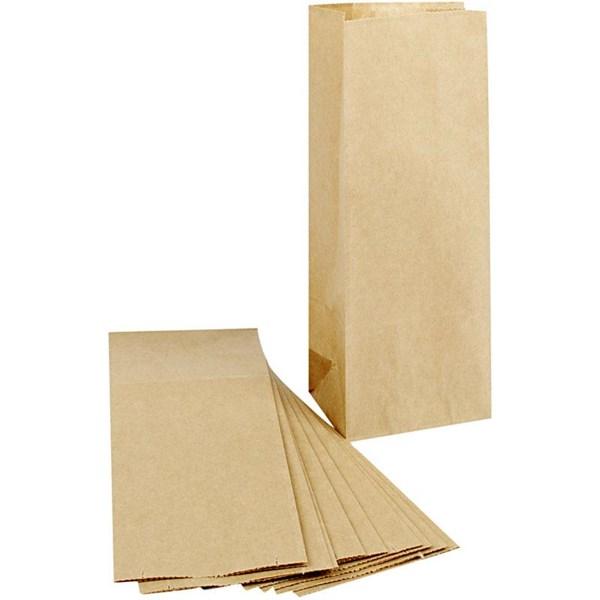 Papperspåsar med Botten 10x6x24 cm Brun 100 st