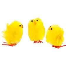 Påskkycklingar, H: 30 mm, gul, 12st.