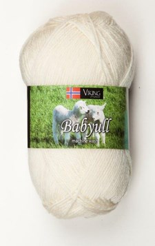 Viking of Norway Baby Ull Garn Merinoull 50g Naturvit 302