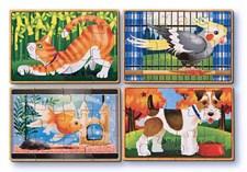 Lemmikkieläimet, 4 palapeliä laatikossa, Melissa & Doug