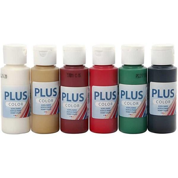 Plus Color hobbymaling, julefarger, 6x60ml