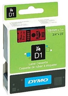 Tejp D1 19 mm Svart Text på Röd Tejp
