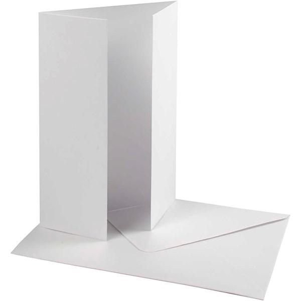 Perlemorskort med konvolutt, kort str. 10,5x15 cm, konvolutt str. 11,5x16,5 cm, 10 sett, hvit