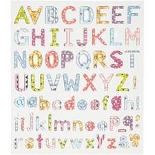 Stickers, ark 15x16,5 cm, alfabet, 1ark