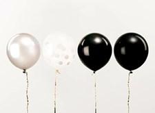 Ballonger, Rico, 30 cm, Svarta och Vita, 12 st.