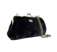 Clutch Fiesta Furry Chain Black