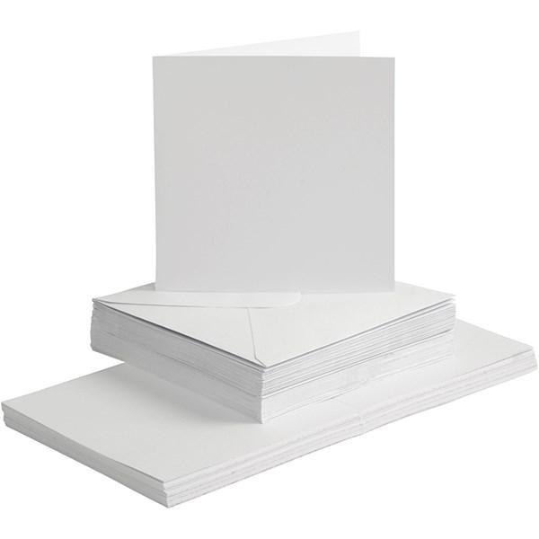 Kort og konvolutter, kort str. 15x15 cm, konvolutt str. 16x16 cm, hvit, 50sett