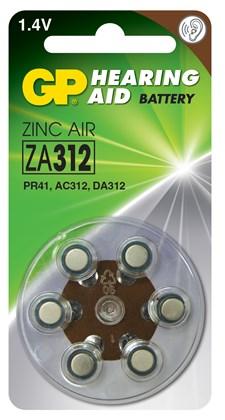 Kuulolaiteparisto ZA312 sinkki, ilma 1,4V 6 kpl