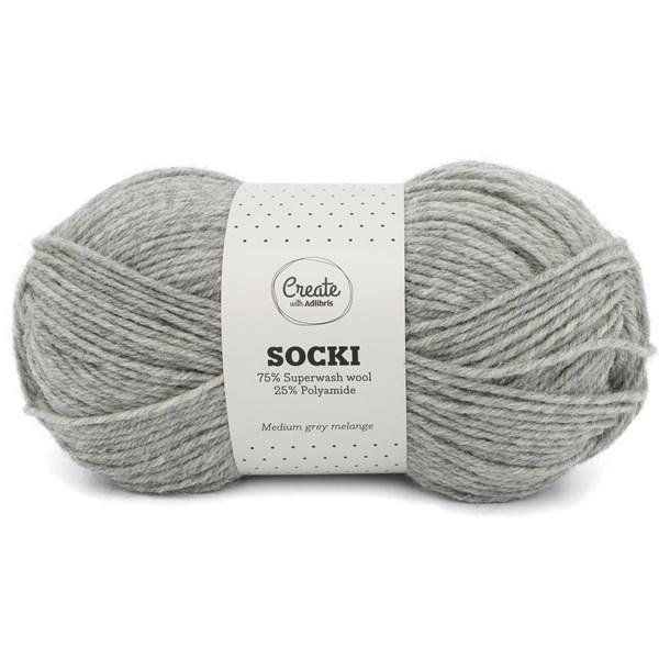 Adlibris Socki Lanka Yksivärinen Villasekoitus 100g Medium Grey Melange A046